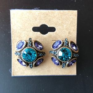 Oscar De La Renta signed crystal button earrings